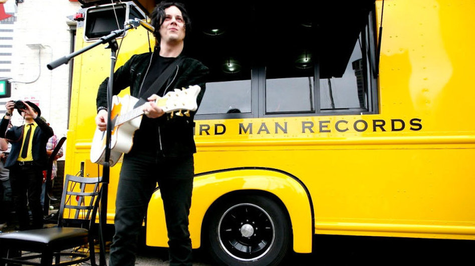 Jack White performs in front of his mobile record store, Third Man Records, at SXSW.