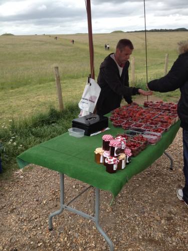Vendita di fragole davati a Stonehenge