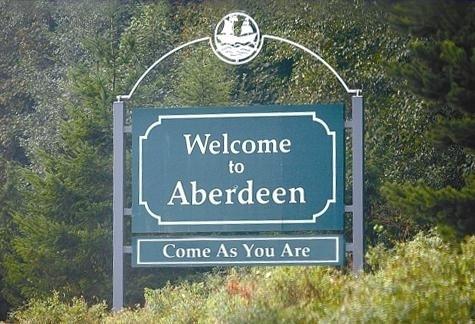 Il cartello d'entrata ad Aberdeen